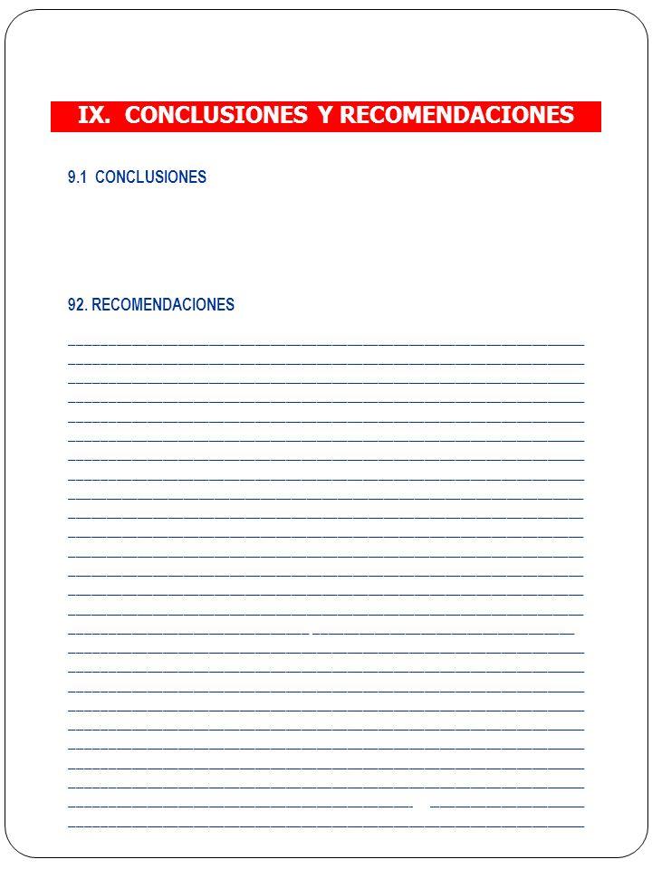 IX. CONCLUSIONES Y RECOMENDACIONES
