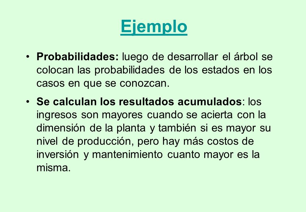 Ejemplo Probabilidades: luego de desarrollar el árbol se colocan las probabilidades de los estados en los casos en que se conozcan.