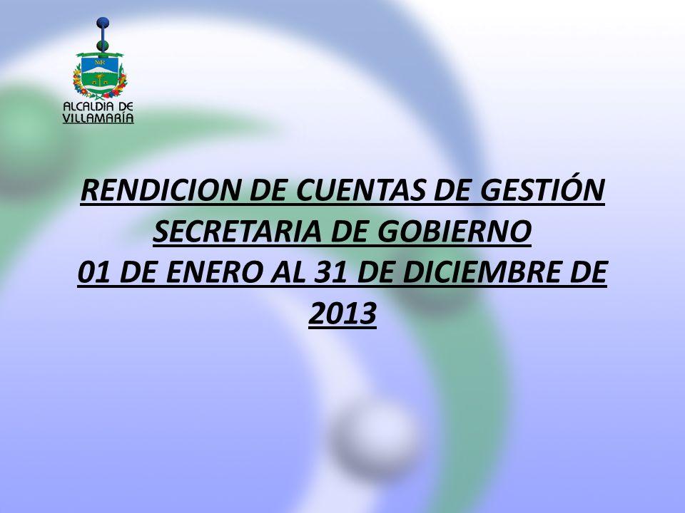 RENDICION DE CUENTAS DE GESTIÓN SECRETARIA DE GOBIERNO