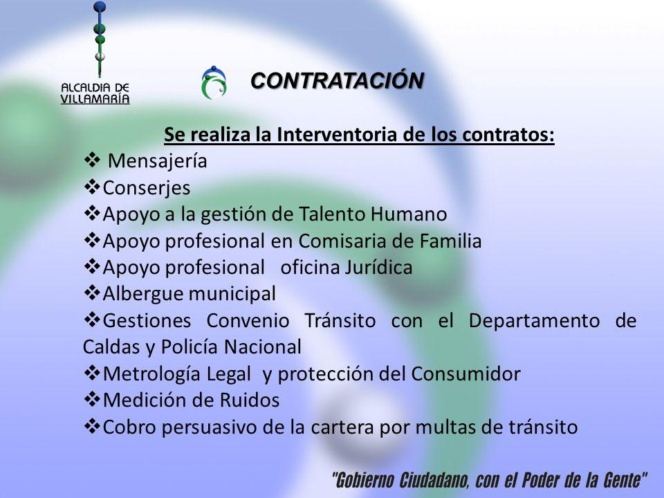 Se realiza la Interventoria de los contratos: