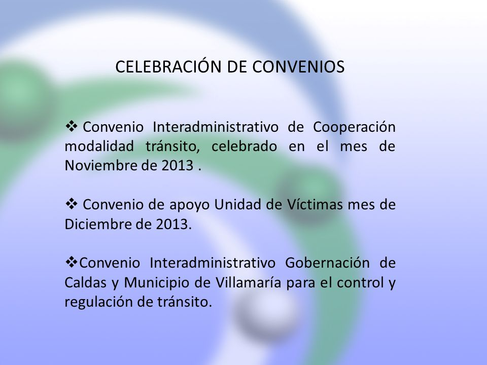 CELEBRACIÓN DE CONVENIOS