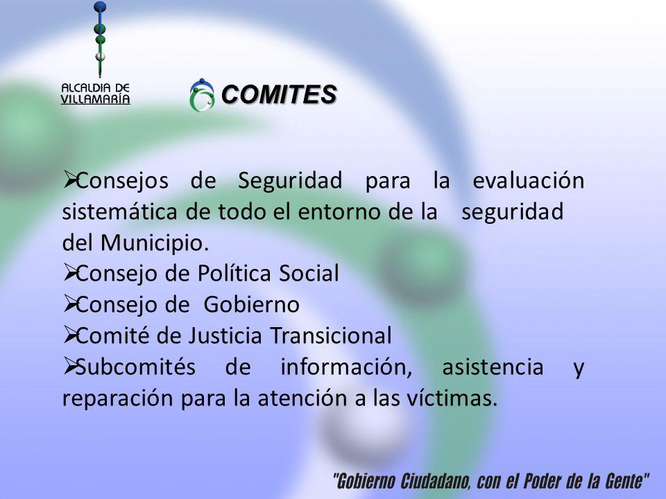 COMITES Consejos de Seguridad para la evaluación sistemática de todo el entorno de la seguridad del Municipio.