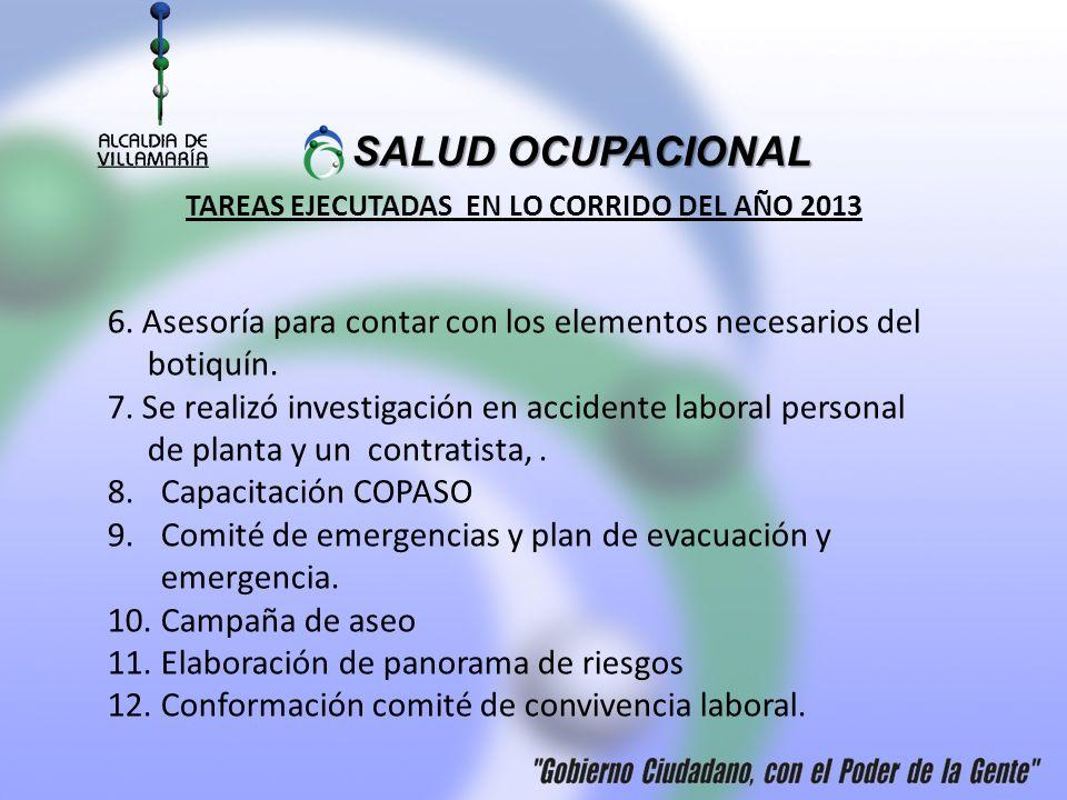 TAREAS EJECUTADAS EN LO CORRIDO DEL AÑO 2013