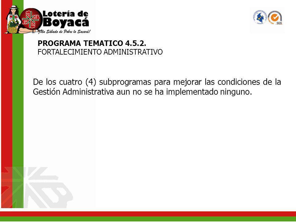 PROGRAMA TEMATICO 4.5.2. FORTALECIMIENTO ADMINISTRATIVO.