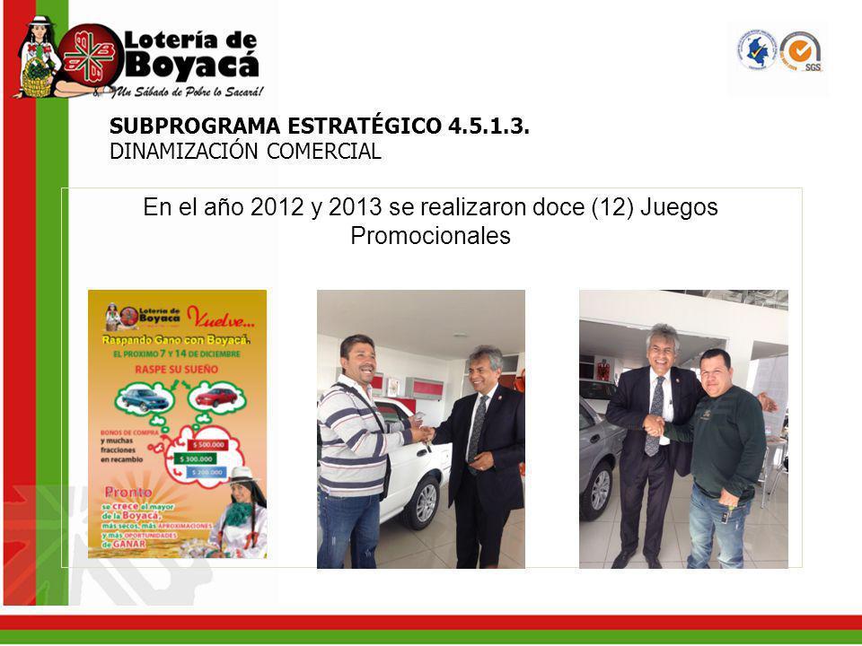 En el año 2012 y 2013 se realizaron doce (12) Juegos Promocionales