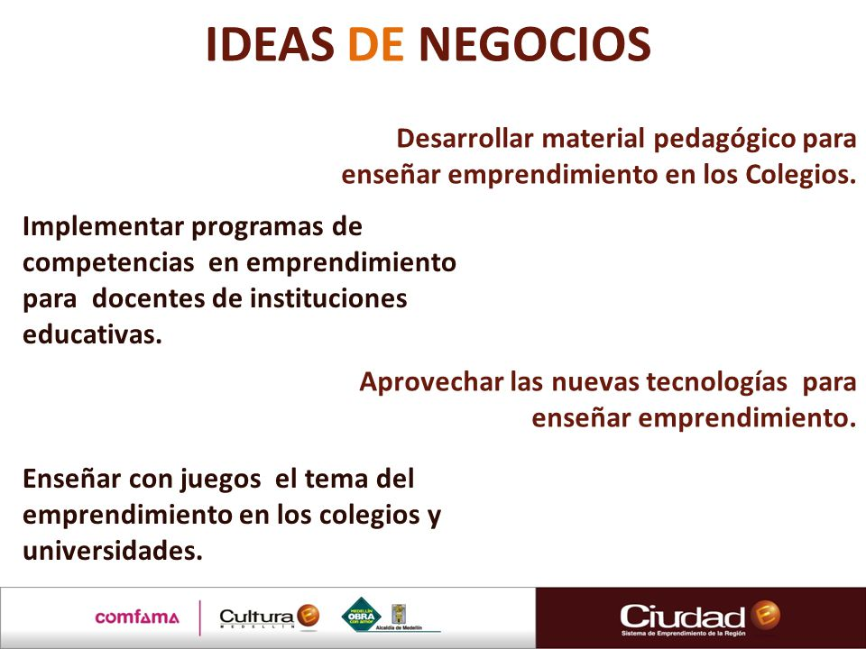 IDEAS DE NEGOCIOS Desarrollar material pedagógico para enseñar emprendimiento en los Colegios.