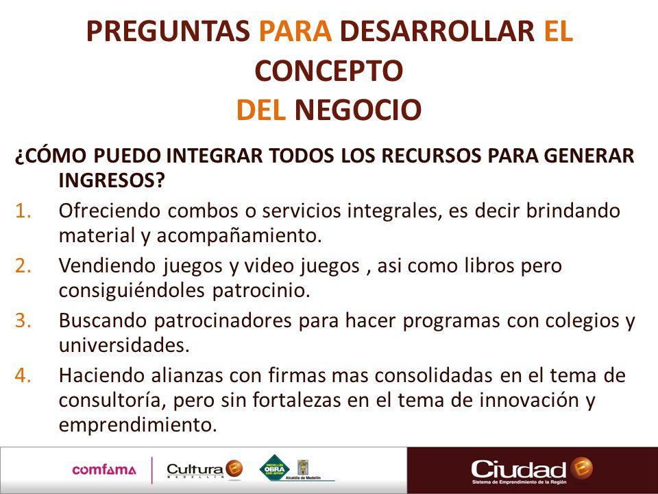 PREGUNTAS PARA DESARROLLAR EL CONCEPTO DEL NEGOCIO