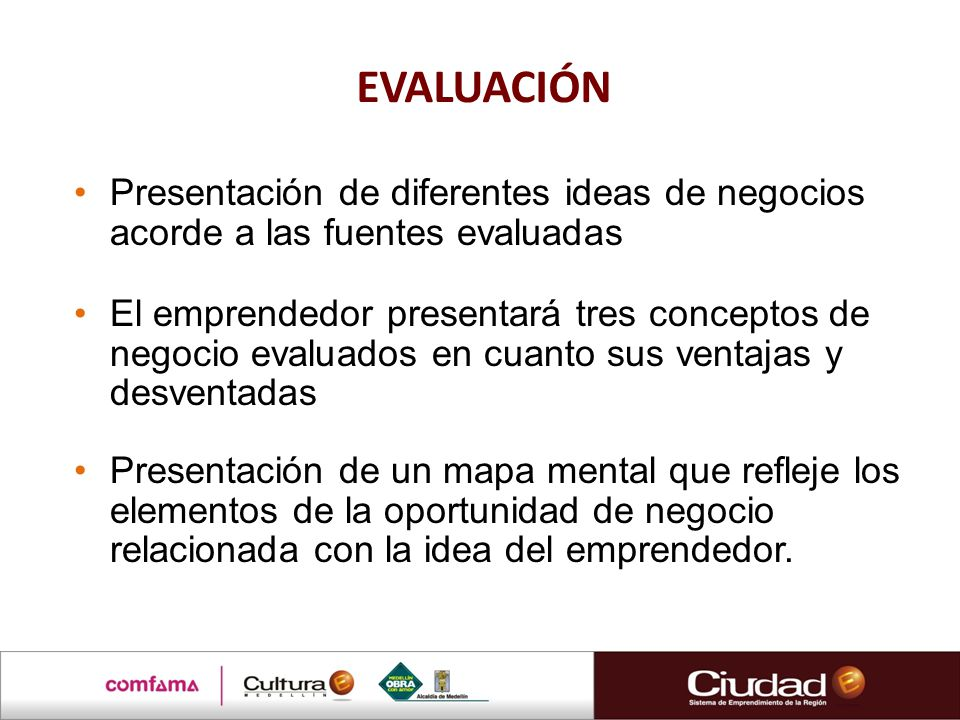 EVALUACIÓN Presentación de diferentes ideas de negocios acorde a las fuentes evaluadas.