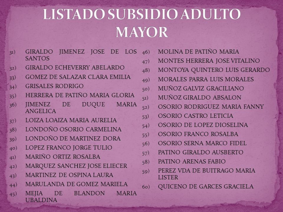 LISTADO SUBSIDIO ADULTO MAYOR