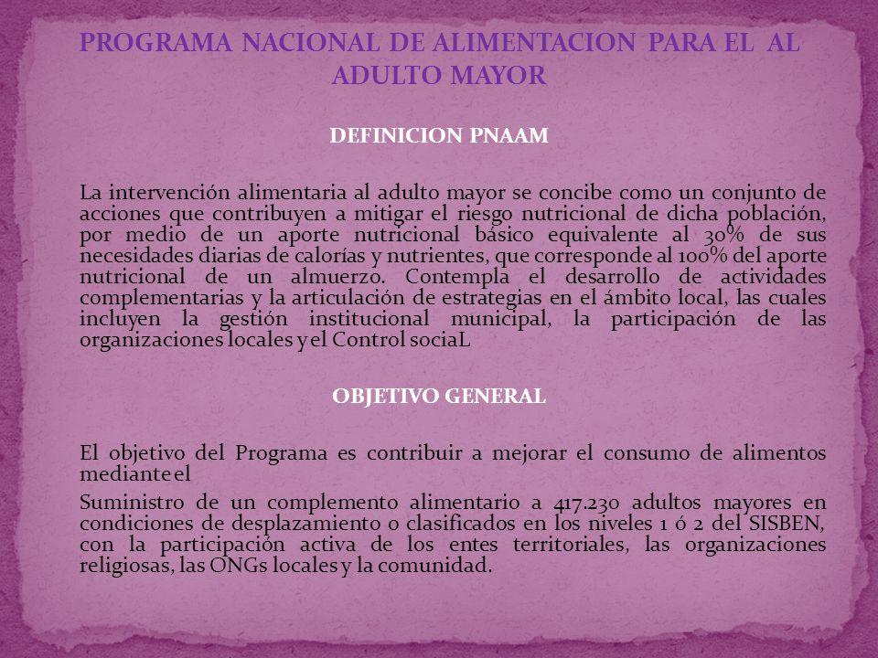 PROGRAMA NACIONAL DE ALIMENTACION PARA EL AL