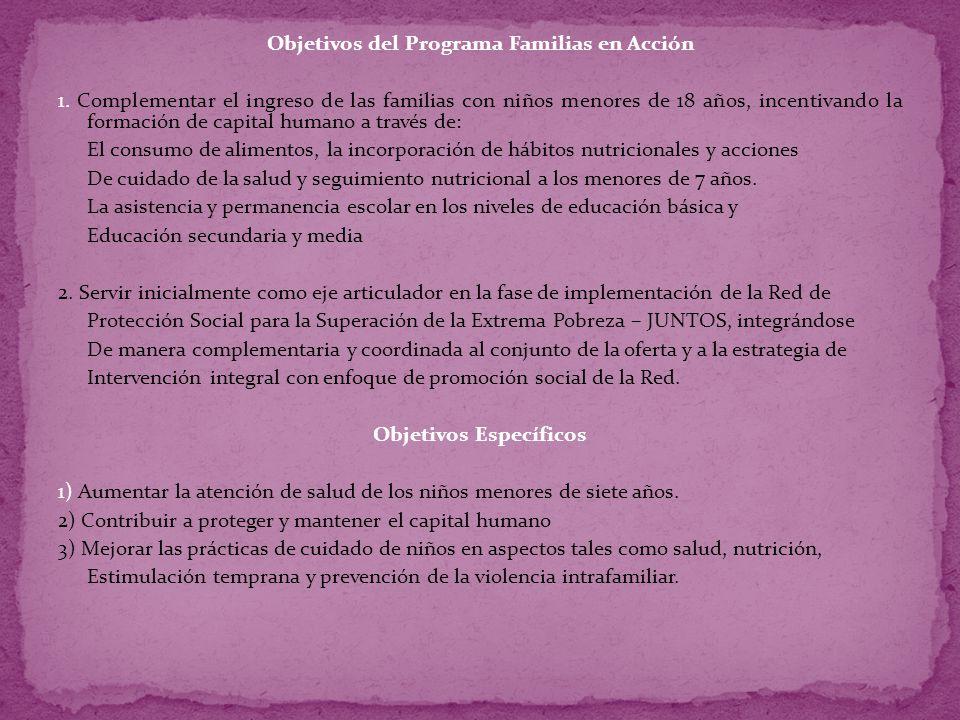 Objetivos del Programa Familias en Acción 1
