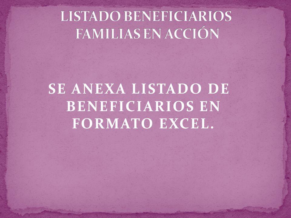LISTADO BENEFICIARIOS FAMILIAS EN ACCIÓN