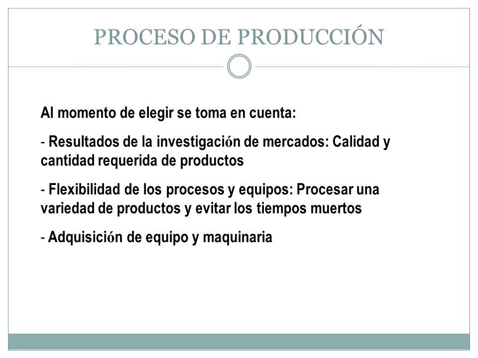 PROCESO DE PRODUCCIÓN Al momento de elegir se toma en cuenta: