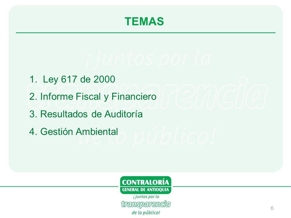 TEMAS Ley 617 de 2000 Informe Fiscal y Financiero