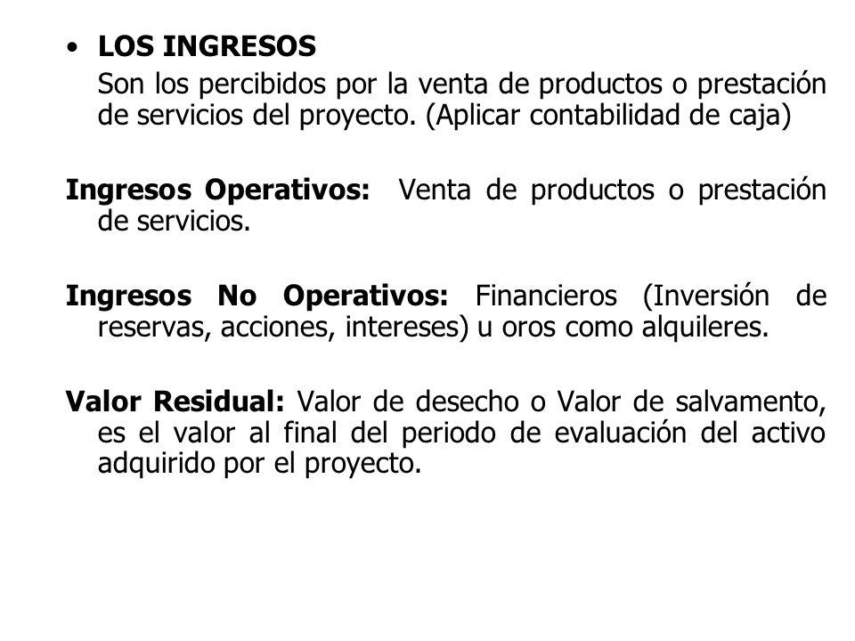 LOS INGRESOS Son los percibidos por la venta de productos o prestación de servicios del proyecto. (Aplicar contabilidad de caja)