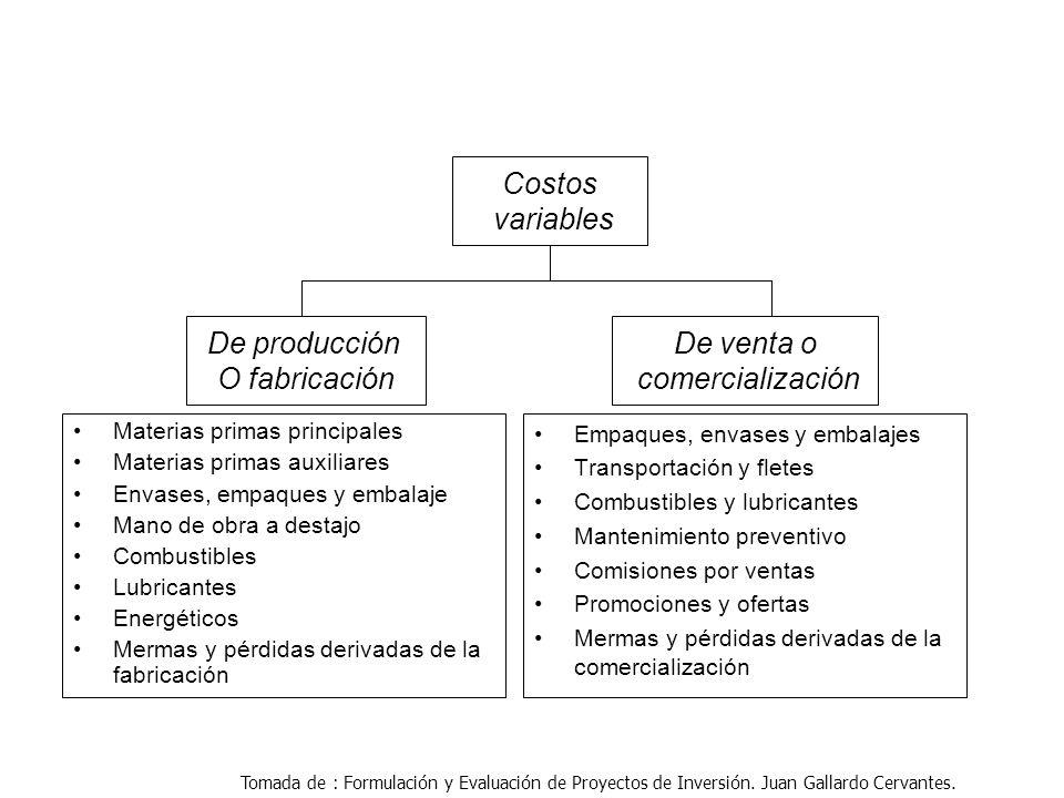 Costos variables De venta o comercialización De producción