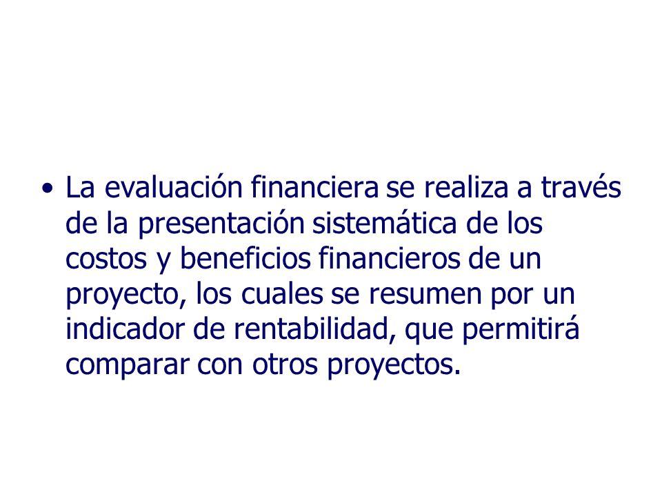 La evaluación financiera se realiza a través de la presentación sistemática de los costos y beneficios financieros de un proyecto, los cuales se resumen por un indicador de rentabilidad, que permitirá comparar con otros proyectos.