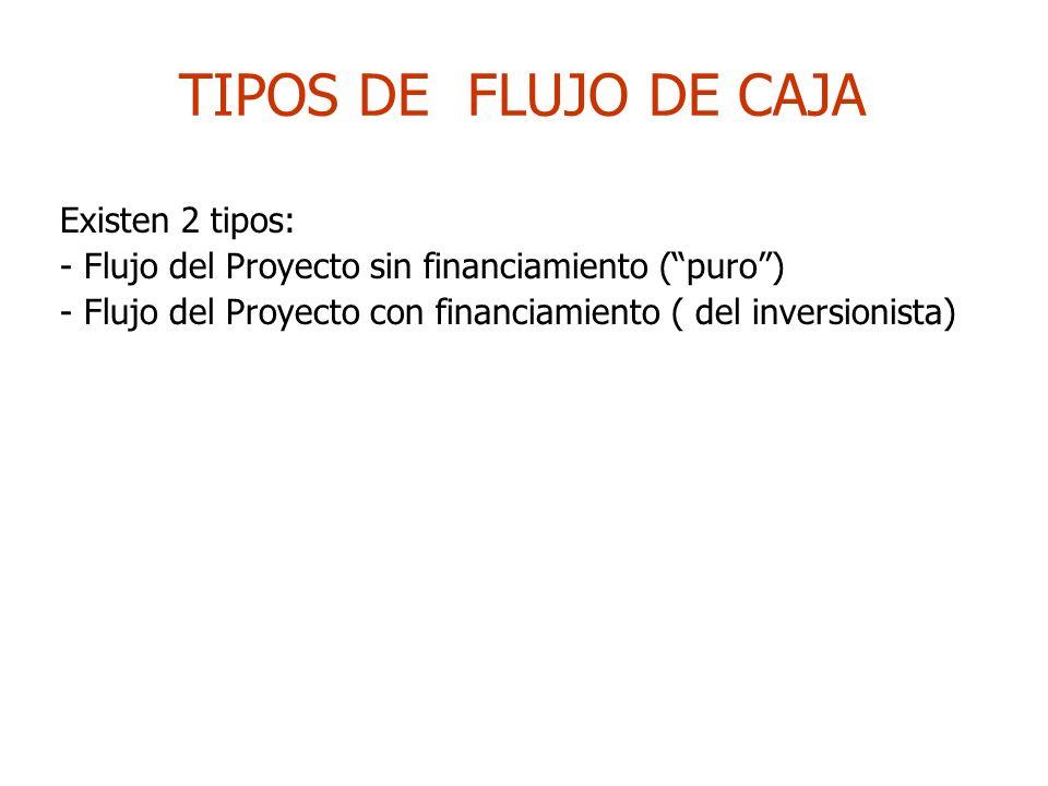 TIPOS DE FLUJO DE CAJA Existen 2 tipos:
