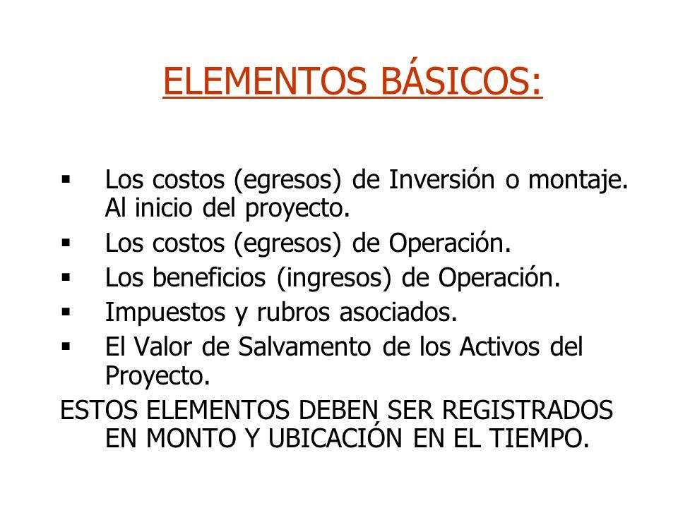 ELEMENTOS BÁSICOS: Los costos (egresos) de Inversión o montaje. Al inicio del proyecto. Los costos (egresos) de Operación.