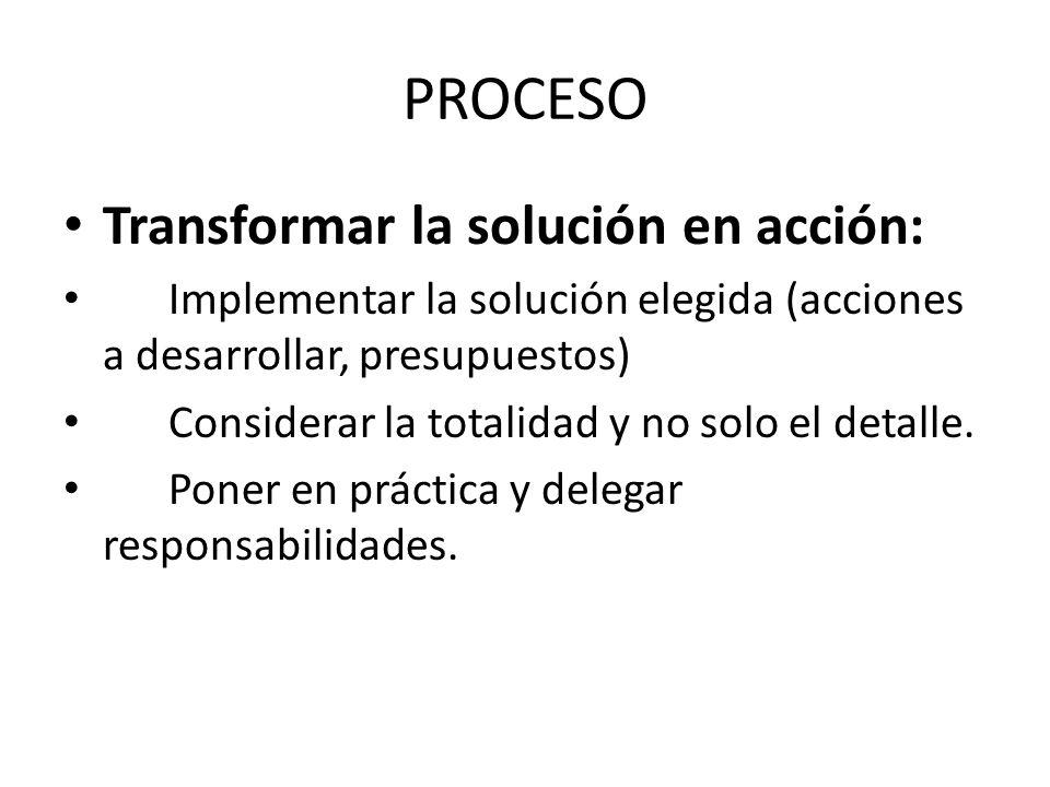 PROCESO Transformar la solución en acción: