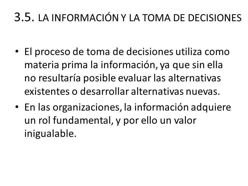 3.5. LA INFORMACIÓN Y LA TOMA DE DECISIONES