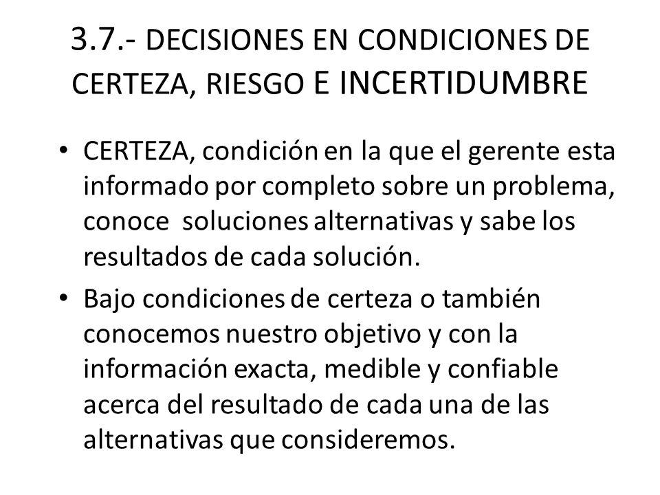 3.7.- DECISIONES EN CONDICIONES DE CERTEZA, RIESGO E INCERTIDUMBRE