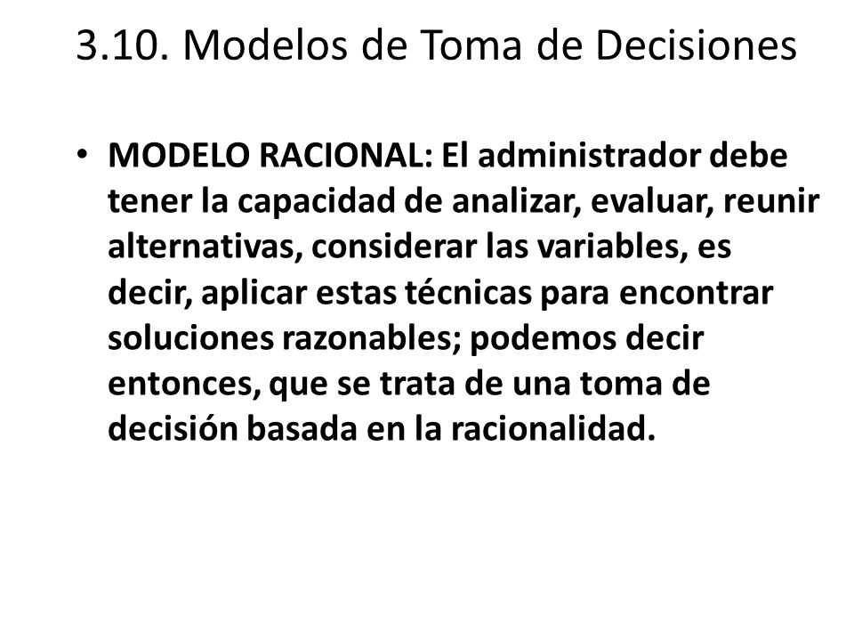 3.10. Modelos de Toma de Decisiones