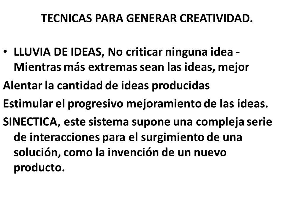 TECNICAS PARA GENERAR CREATIVIDAD.