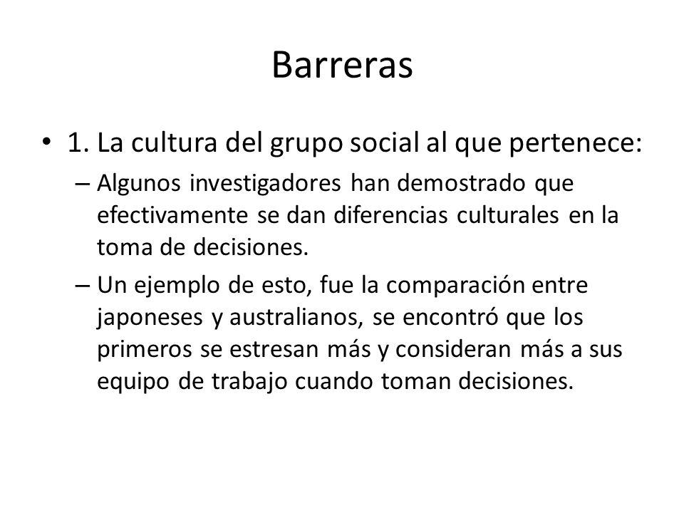 Barreras 1. La cultura del grupo social al que pertenece: