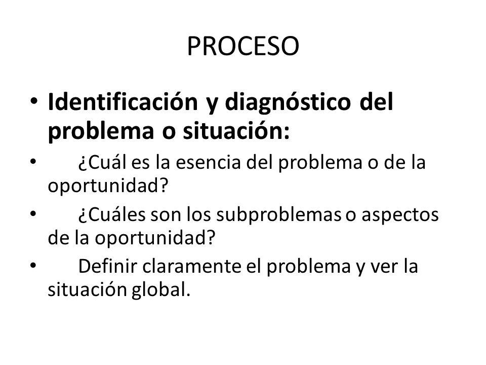 PROCESO Identificación y diagnóstico del problema o situación: