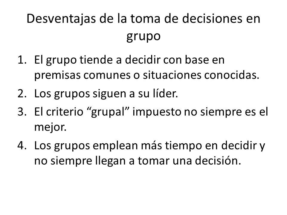 Desventajas de la toma de decisiones en grupo