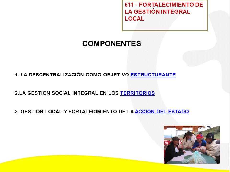 COMPONENTES 511 - FORTALECIMIENTO DE LA GESTIÓN INTEGRAL LOCAL.