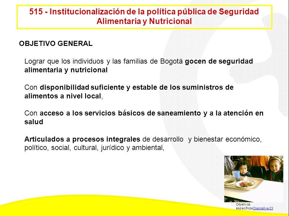 515 - Institucionalización de la política pública de Seguridad Alimentaria y Nutricional