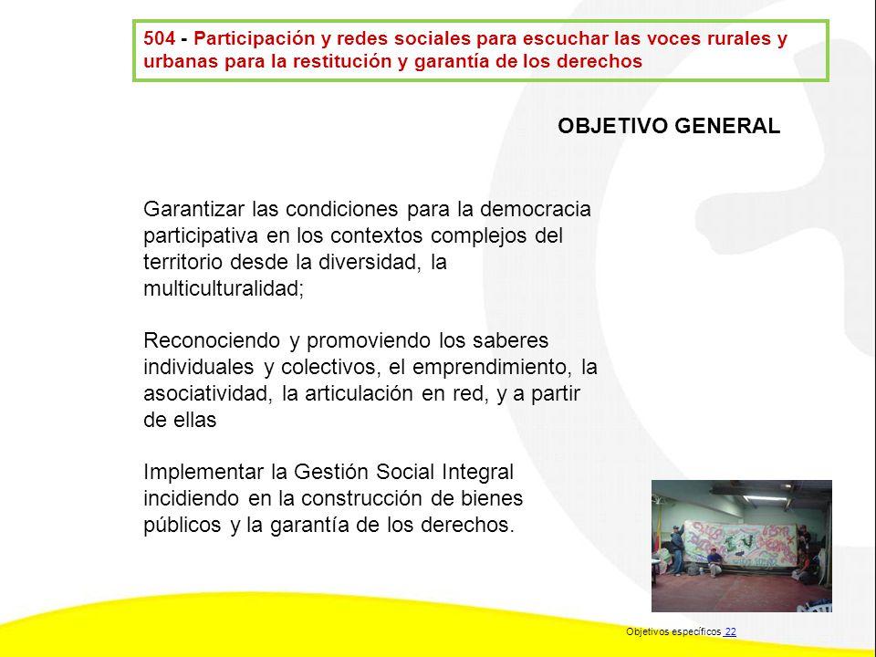 504 - Participación y redes sociales para escuchar las voces rurales y urbanas para la restitución y garantía de los derechos