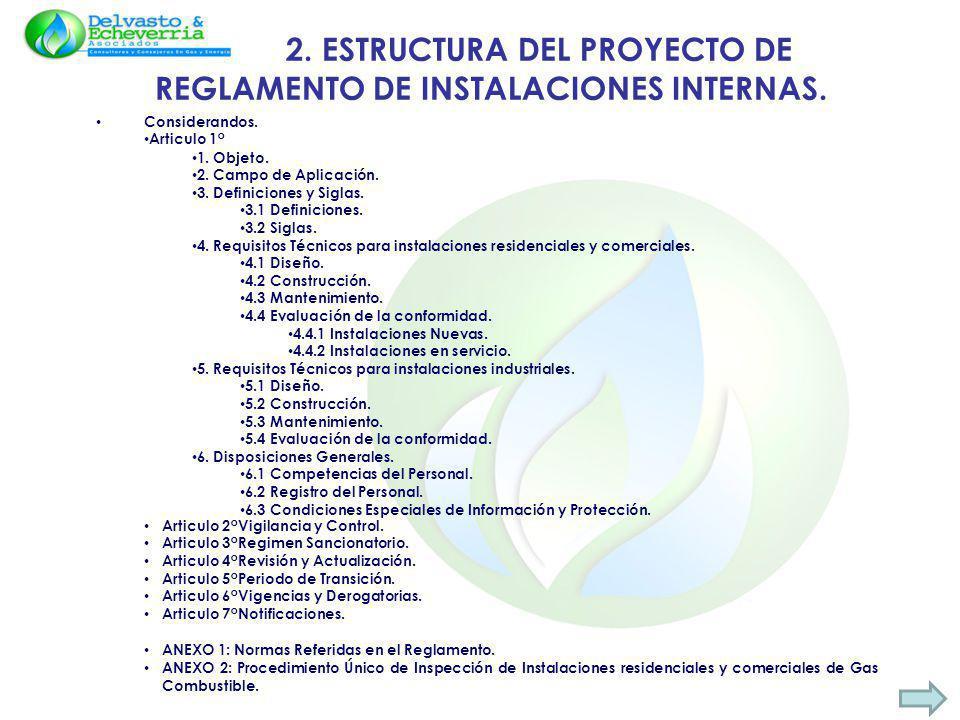 2. ESTRUCTURA DEL PROYECTO DE REGLAMENTO DE INSTALACIONES INTERNAS.