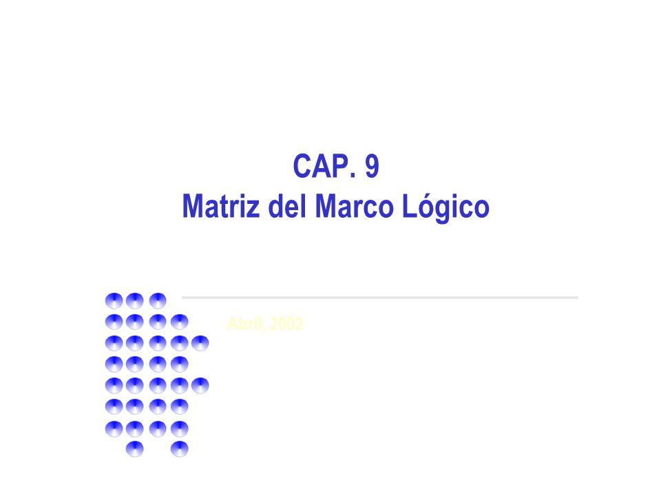 CAP. 9 Matriz del Marco Lógico