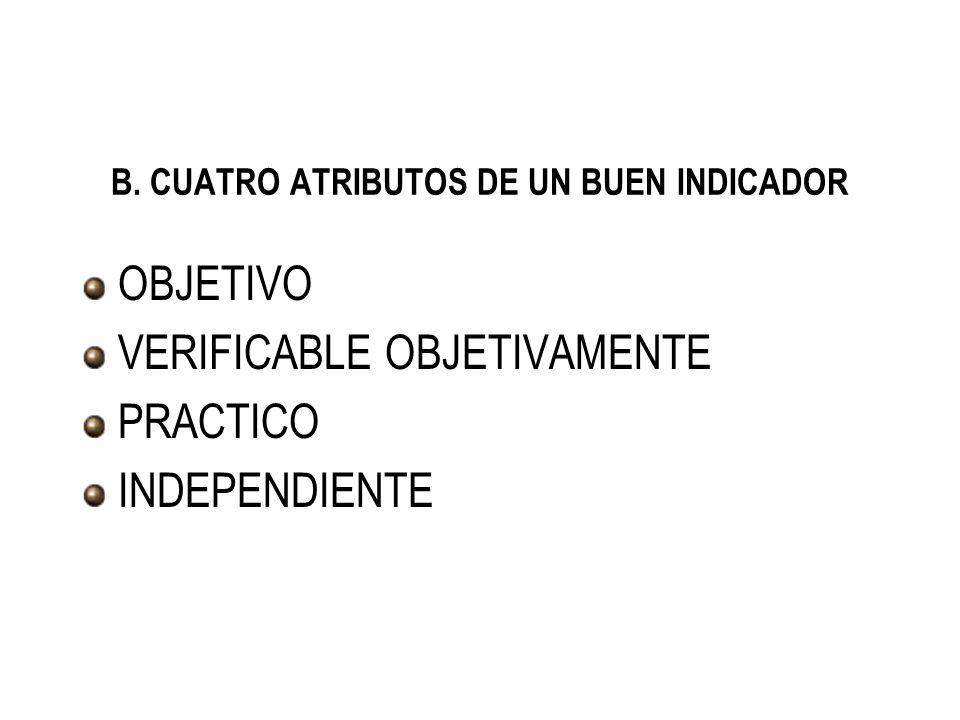 B. CUATRO ATRIBUTOS DE UN BUEN INDICADOR