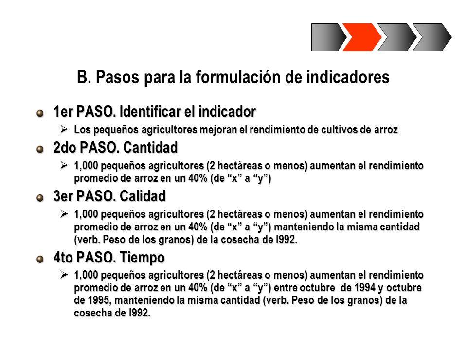 B. Pasos para la formulación de indicadores