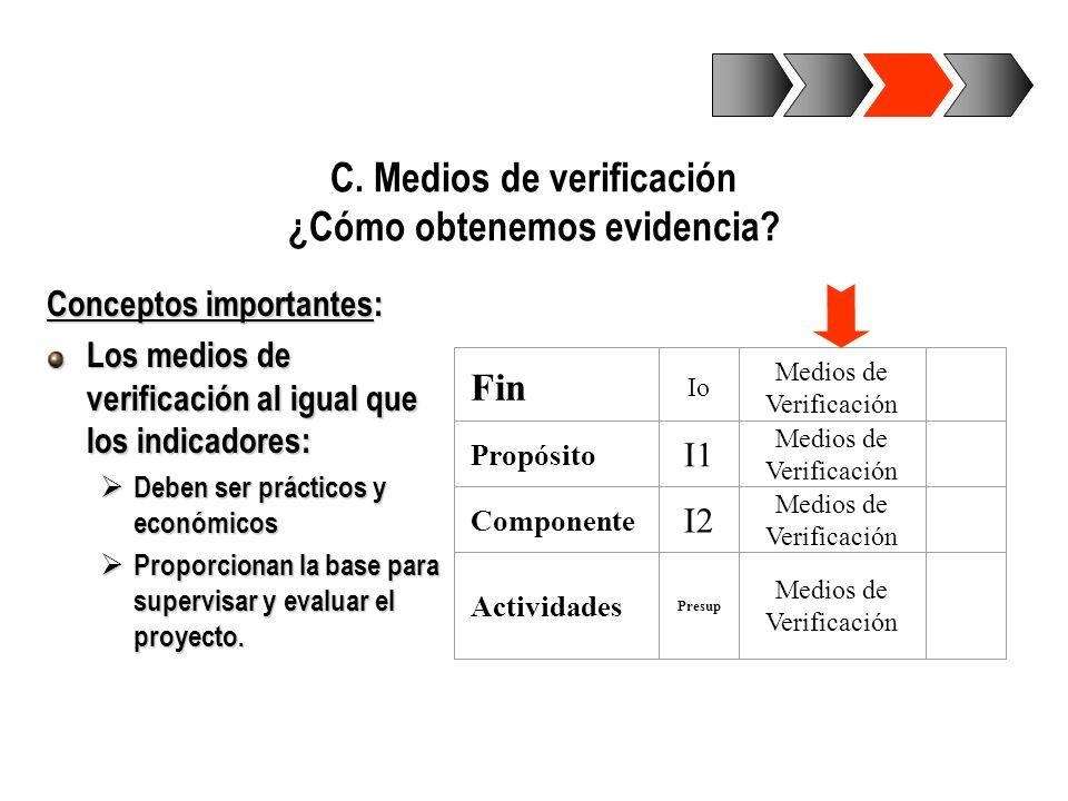 C. Medios de verificación ¿Cómo obtenemos evidencia