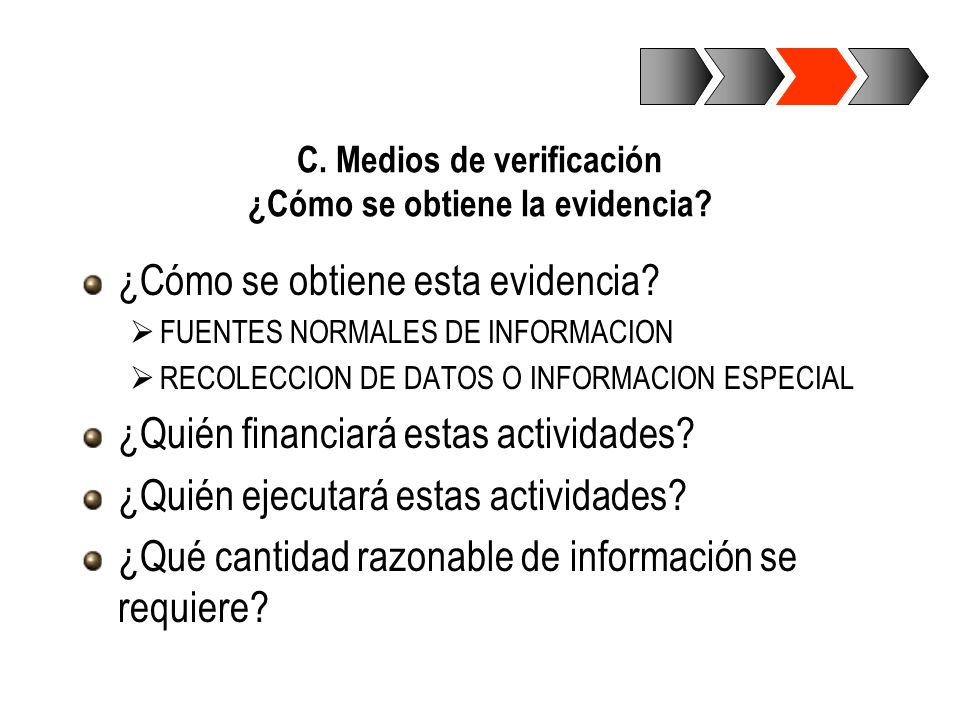 C. Medios de verificación ¿Cómo se obtiene la evidencia