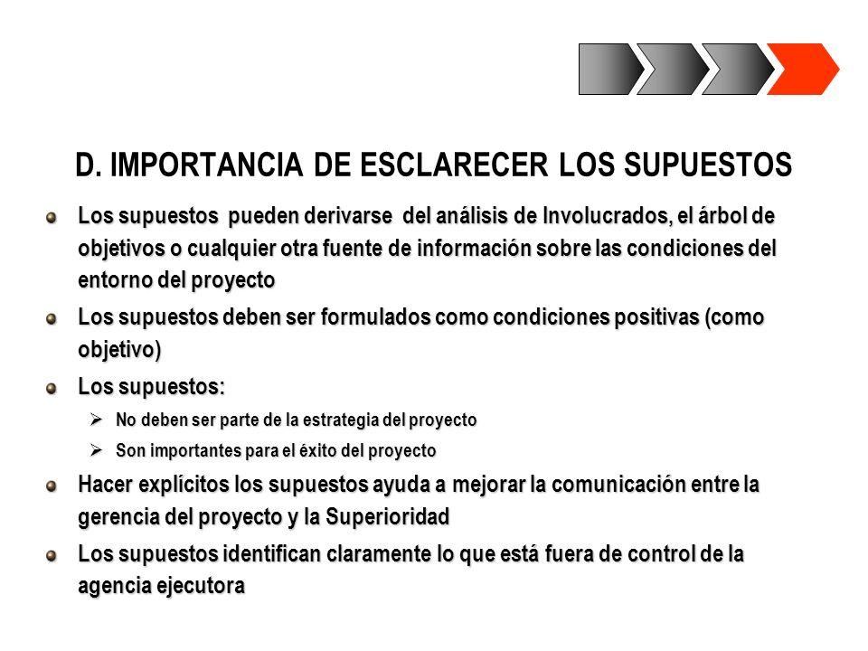D. IMPORTANCIA DE ESCLARECER LOS SUPUESTOS