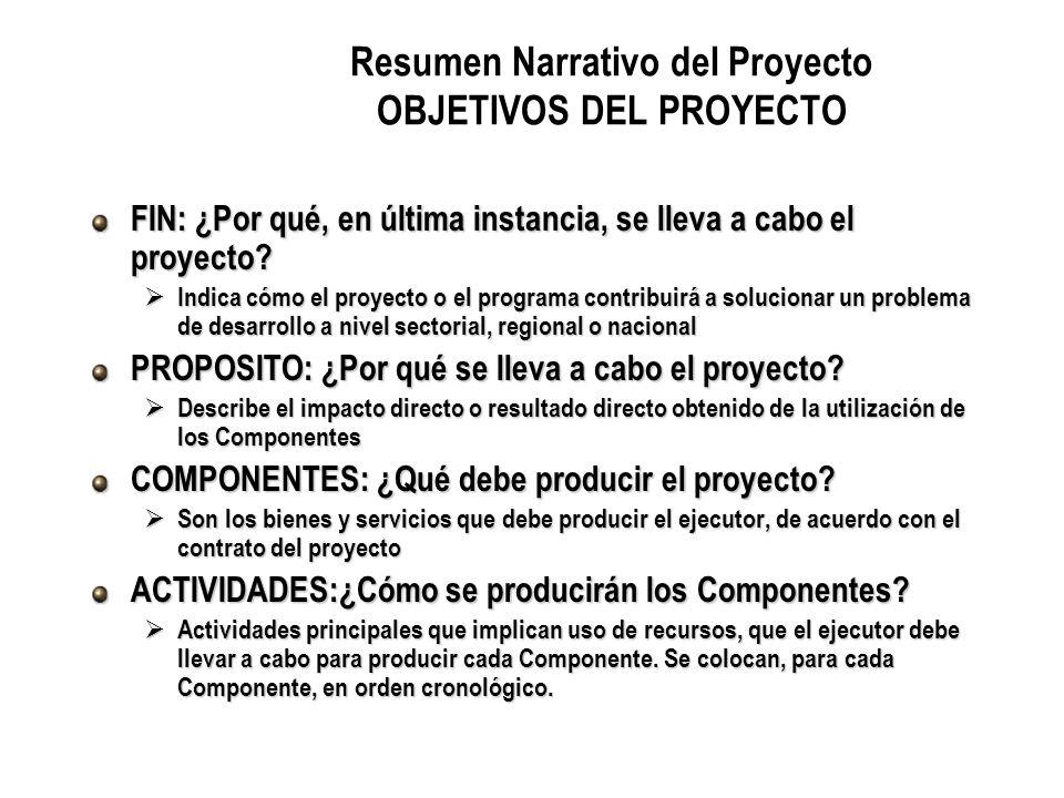 Resumen Narrativo del Proyecto OBJETIVOS DEL PROYECTO