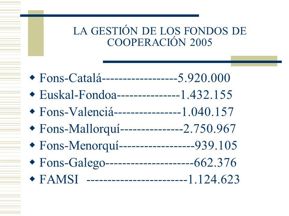 LA GESTIÓN DE LOS FONDOS DE COOPERACIÓN 2005