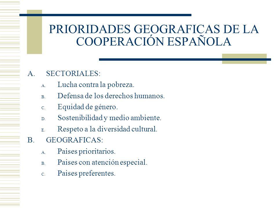 PRIORIDADES GEOGRAFICAS DE LA COOPERACIÓN ESPAÑOLA