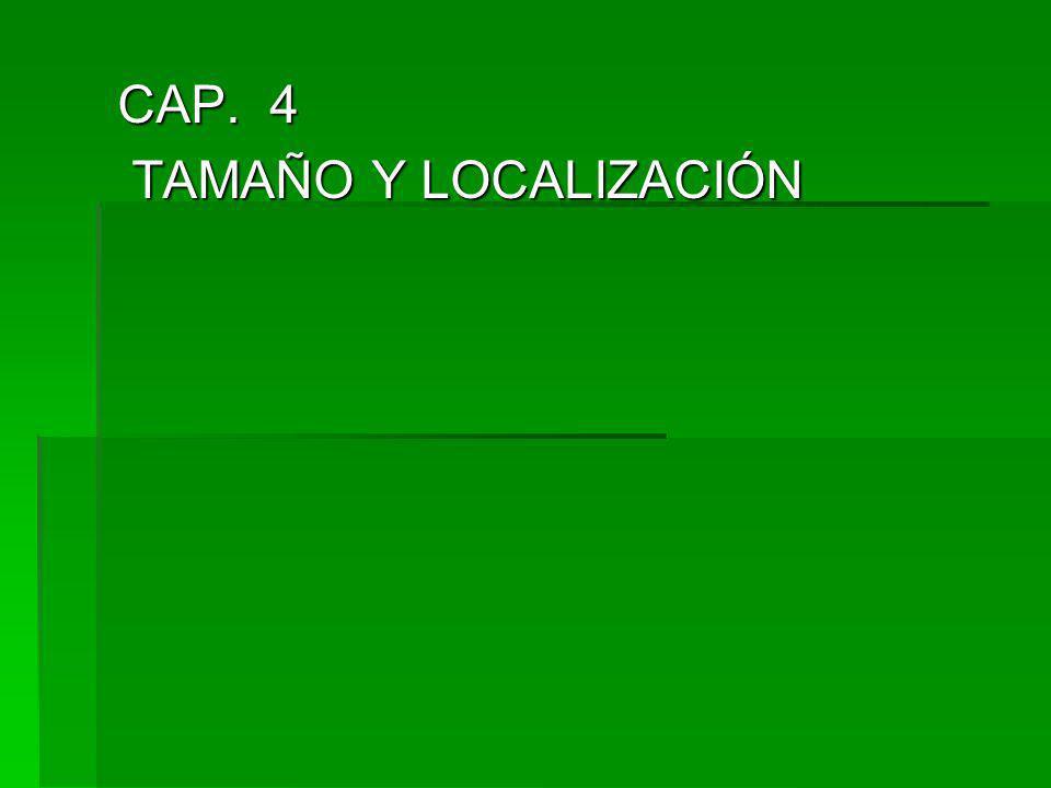 CAP. 4 TAMAÑO Y LOCALIZACIÓN