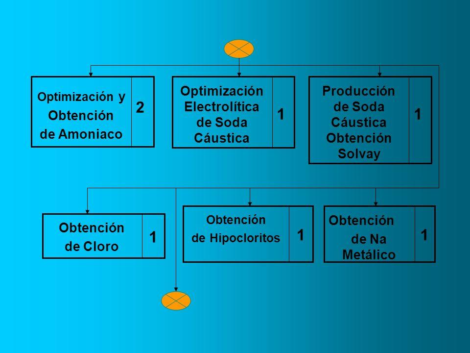2Optimización y. Obtención. de Amoniaco. Optimización Electrolítica de Soda Cáustica. 1. Producción de Soda Cáustica Obtención Solvay.