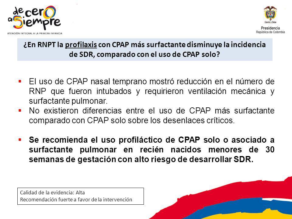¿En RNPT la profilaxis con CPAP más surfactante disminuye la incidencia de SDR, comparado con el uso de CPAP solo
