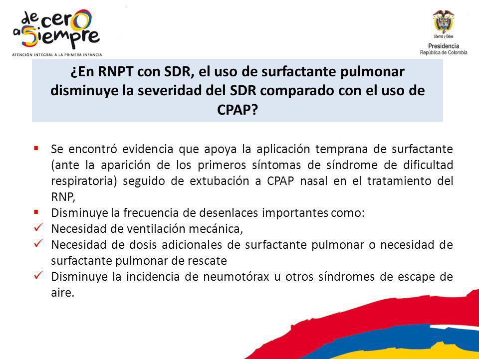 ¿En RNPT con SDR, el uso de surfactante pulmonar disminuye la severidad del SDR comparado con el uso de CPAP