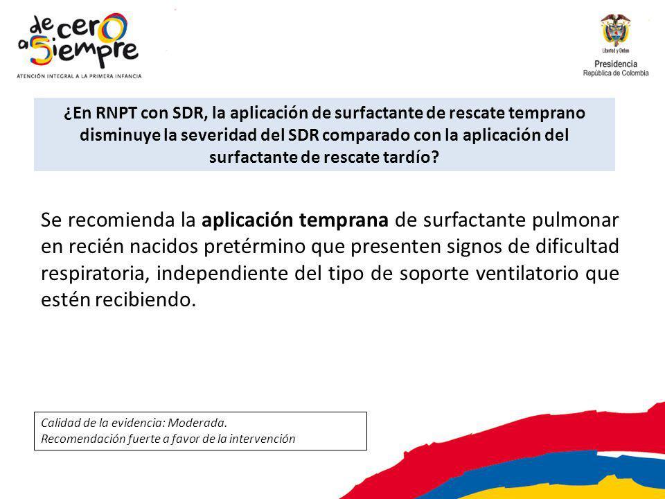 ¿En RNPT con SDR, la aplicación de surfactante de rescate temprano disminuye la severidad del SDR comparado con la aplicación del surfactante de rescate tardío