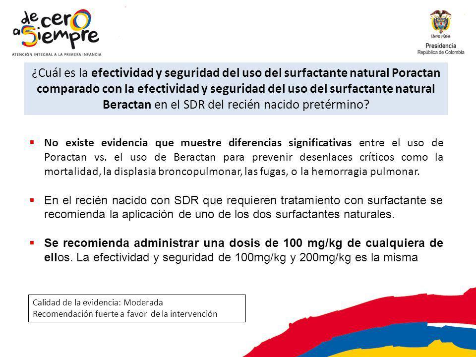 ¿Cuál es la efectividad y seguridad del uso del surfactante natural Poractan comparado con la efectividad y seguridad del uso del surfactante natural Beractan en el SDR del recién nacido pretérmino